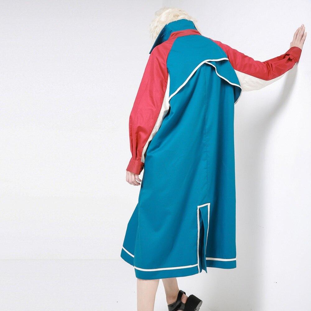 Manteau De Tranchée Revers Coupe Vêtements Longues Automne Patchwork vent Femmes À Pour Hit Couleur Blousons Manches Lâche Casual wfzFC8qt