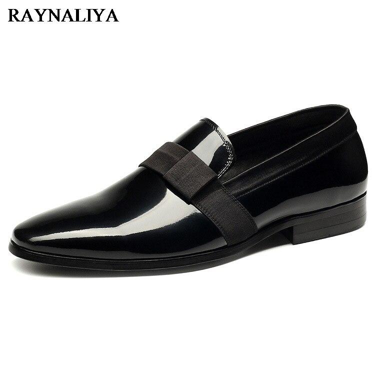 Luxury Genuine Leather Men Shoes Business Casual Dress Shoes Patent - Men's Shoes