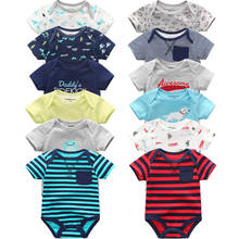 Super Cotton Baby Bodysuit Fashion 6pcs/lot Newborn Body Baby Suits Short Sleeve Overalls Infant Boy Girl Jumpsuit kids clothes