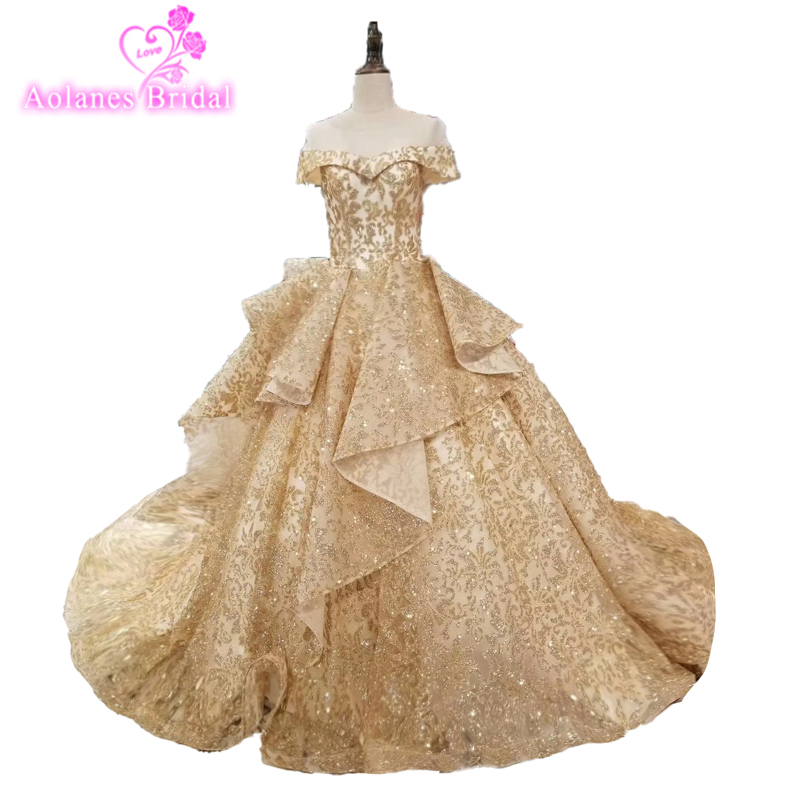 2018 New Off The Shoulder Puffy Big Skirt Champagne Gold Sparkle Glud Glitter African Tulle Mesh Lace Wedding Dress Bling Bling
