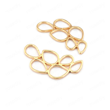 (33539)6PCS 27*13MM 24K Gold Color Brass Multiple Drop Shape Connect Charms High Quality Diy Jewelry Findings Accessories