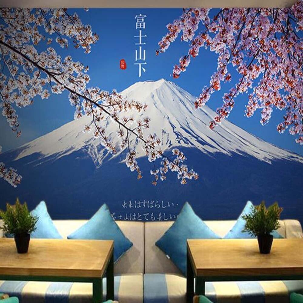 Japanischen Stil Fujisan Kirschblte Blumen 3d Tapeten Fr Wand Mural Wohnzimmer Papier Tapete