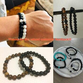 2 Pcs/set Fashion Couple Tiger Eye Stone Bracelets Bangles Classic Black White Natural Lava Stones Charm Bead Bracelet Women Men 5