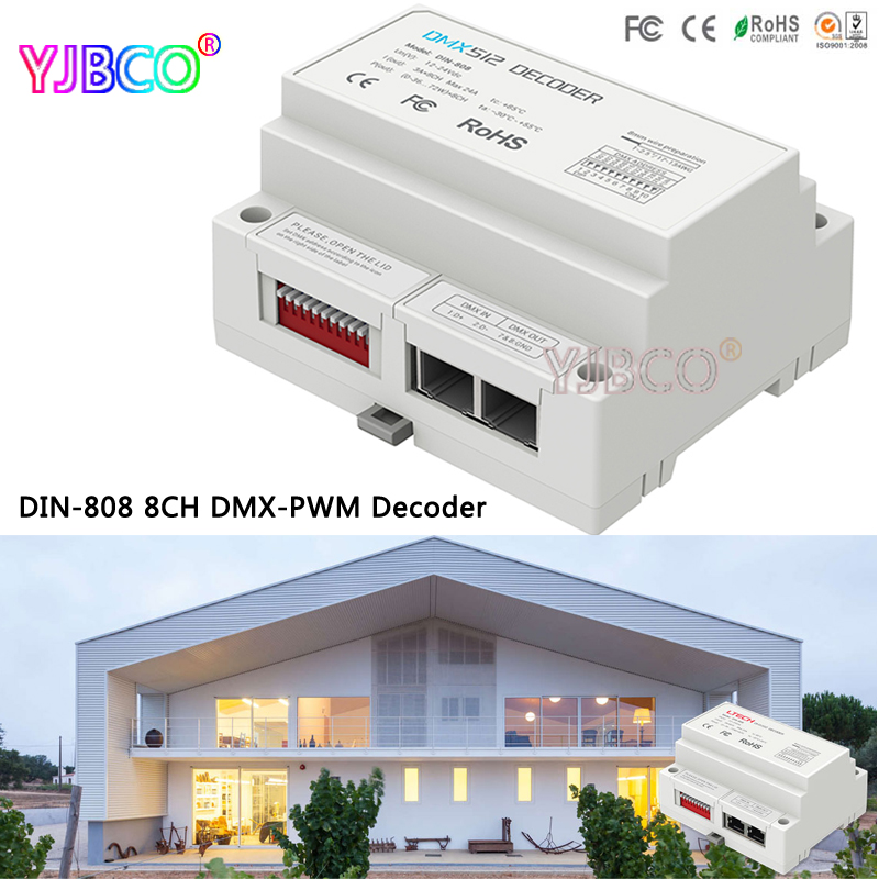 LTECH led comtroller DIN-808;8CH DMX-PWM Decoder;DC12-24V input;3A*8CH Max 24A output for led strip light dmx512 digital display 24ch dmx address controller dc5v 24v each ch max 3a 8 groups rgb controller
