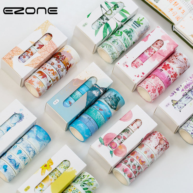 EZONE Flower Tape Kawaiii Sakura/Peach/Sky/Green Leaves Printed Washi Tape For Children Decoration DIY Scrapbooking Album Supply