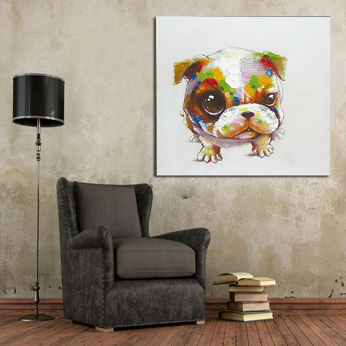 Art Decor Ideas Living Rooms: Dog Oil Painting On Canvas Wall Pictures Paintings For