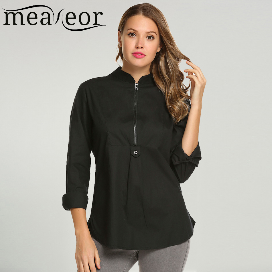 Meaneor Women s Autumn Stand Collar Striped Blouses Shirts Casual Long Sleeve  Tunic Split Hem Fly Zipper Blouse Shirt-in Blouses   Shirts from Women s ... 4d2e7c254