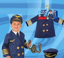 Pilot Costume Airline Role Play Dress up Set with Jacket Tie Hat Wings Steering Yoke Checklist for Toddlers Boys Girl 3-6 Years tasseled tie embroidered yoke eyelet jumper