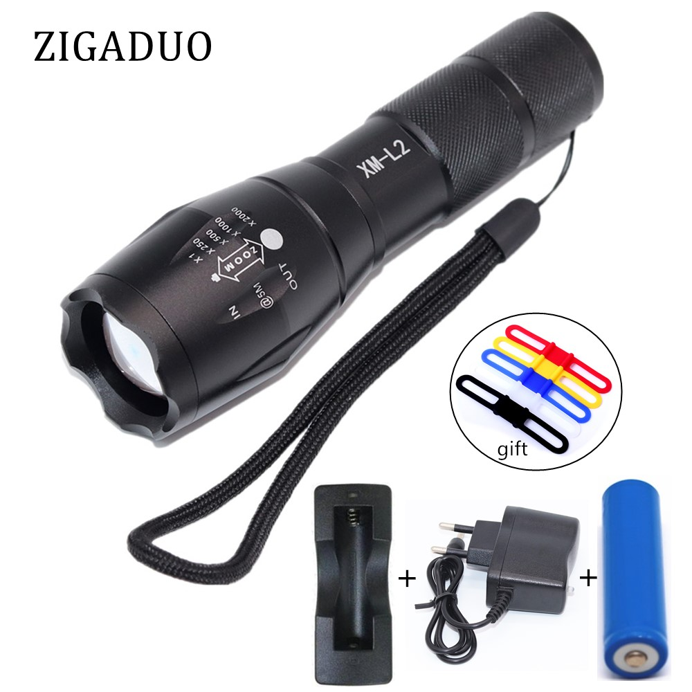 Portable LED Flashlight LED Torch Zoomable Flashlight 8000LM XM-L T6 L2 5 Mode Lighting Light For 18650 or 3xAAA Battery zk20 t6 8000lm led flashlight 5 mode zoomable led torch waterproof torch lights bike light 18650 battery stock in ru