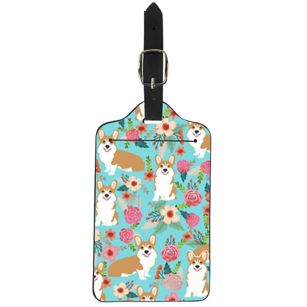 Zoete Corgi Hond Puppy Huisdieren Bagage Tags Vrouwen Reizen Accessoires Pu Lederen Funky Koffer Naam Id Adres Holder Logo Ontwerp