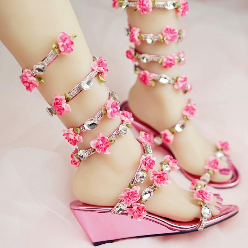 Nicest Summer Dress Shoes Wedge Heel Open Toe Bridal Boots Women Wedding Sandals Crystal and Pink Flower Women Gladiator Sandal