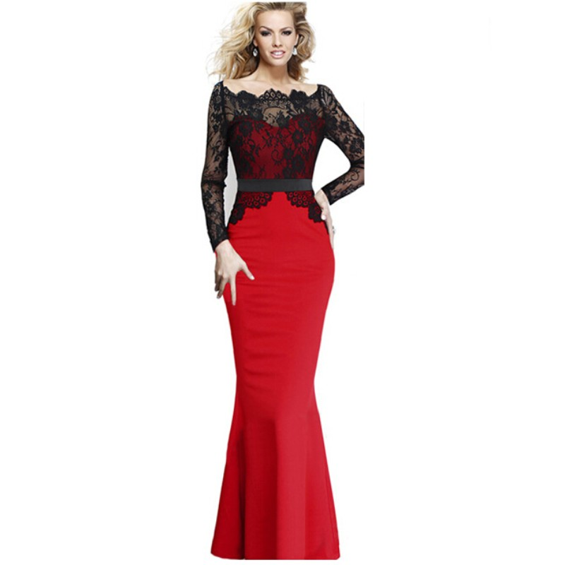 Gauze Long Sleeve Red Black Patchwork Sexy Bodycon Women Mermaid Hip font b Dress b font