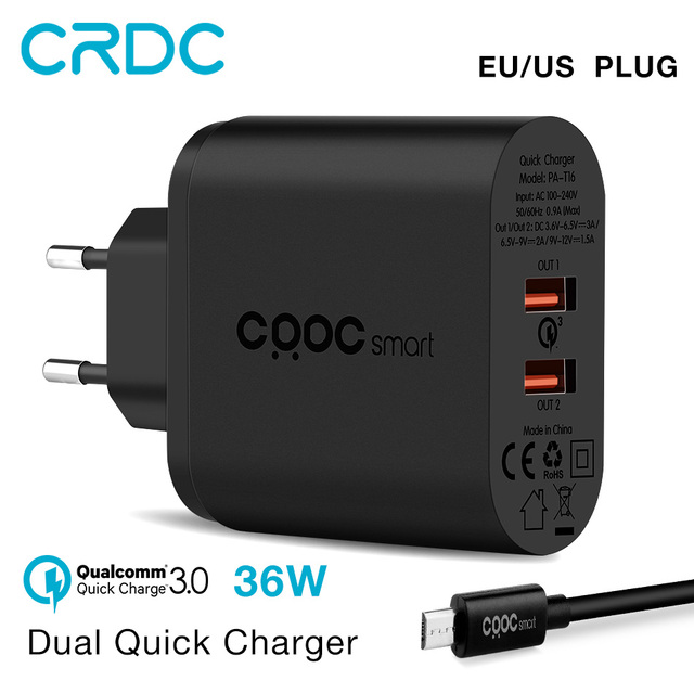 CRDC 36W Dual Quick Charge 3.0 QC2.0 Portable USB Wall Charger Mobile Phone External Battery for iPhone X Samsung S8 Xiaomi ETC