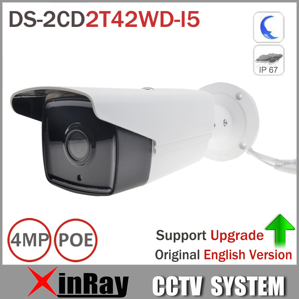 English Version HIK DS-2CD2T42WD-I5 IP Camera 4MP EXIR IR 50M Bullet Network Camera Support POE WDR Bullet Camera IP 2688*1520
