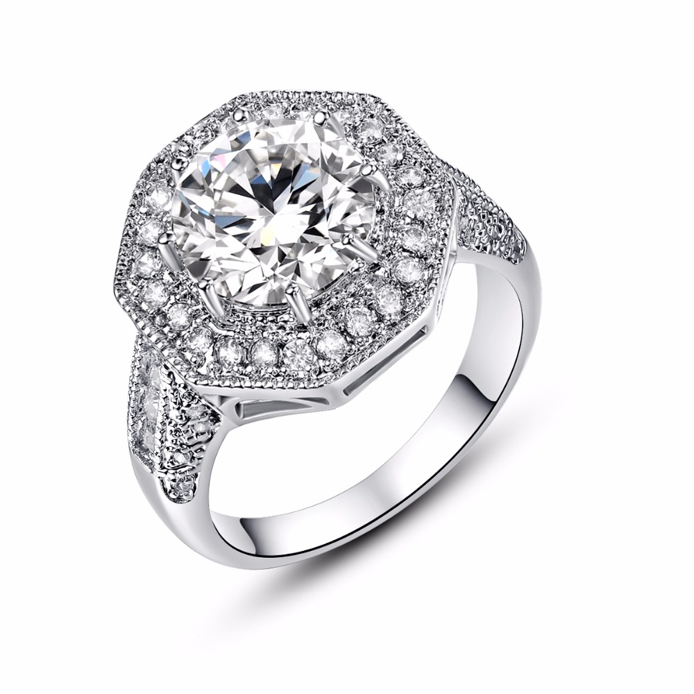 Round Cut White Stone Silver Rings For Women Retro Love Crystal Engagement  Ring Size 6 7