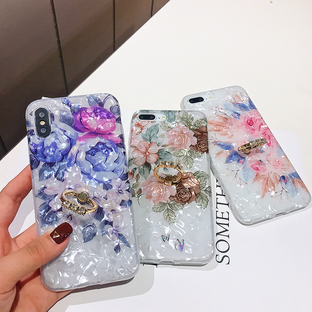 LOVECOM Retro Floral Ring Stand Phone Case For iPhone Models 8