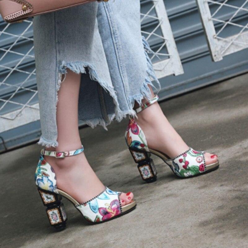 Bordado Vintage Las Sandalias Grueso As Peep Diseño Toe as Altos Zapatos Tobillo Picture Mujer Hebilla Correa Tacones Mujeres Verano Moda Picture De xdAqESwnYY