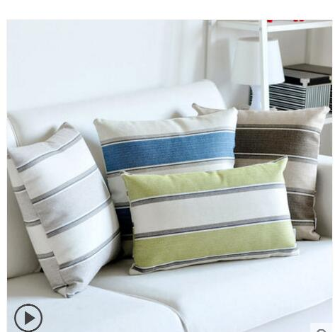 30x50/45x45/<font><b>50x50</b></font>/60x60cm simple thicken linen striped cushion cover sofa backrest <font><b>pillowcase</b></font> square lumbar pillow cover image