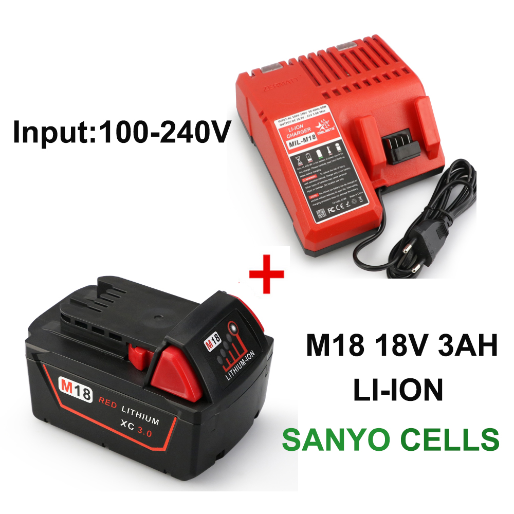 Melasta 18V 3000mAh Lithium-ion Battery + Charger for Milwaukee M18 Red XC 48-11-1815 48-11-1820 48-11-1840 100-240v Input 30a 3s polymer lithium battery cell charger protection board pcb 18650 li ion lithium battery charging module 12 8 16v