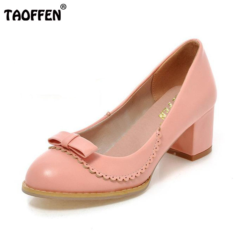 TAOFFEN 4 Colors Size 33-43 Lady High Heel Shoes Women Bowtie Round Toe Ruffles Thick Heels Pumps Party Dating Women Footwears taoffen size 32 43 4 color women high heels shoes round toe thick heel pumps fashion platform bowknot party wedding footwear