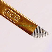 Free Shipping 100Pcs 14Pin Manual Permanent Makeup Tattoo Pen Needles Professional 14-Pong Flat Blades