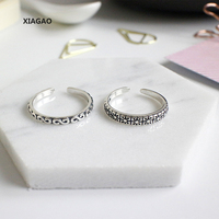 XIAGAO 925 Sterling Silver Open Rings Lucky Clover S Retro Adjustable Finger Rings Retro Silver Jewelry