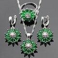 Floco de Neve verde Criado Esmeralda Cor Prata Colar Pingente Brincos Anéis Conjuntos de Jóias Para As Mulheres de Natal Caixa de Presente Livre