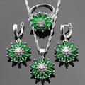 Green Snowflake Created Emerald Silver Color Jewelry Sets For Women Christmas Necklace Pendant Drop Earrings Rings Free Gift Box