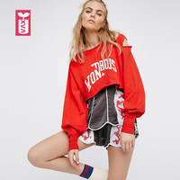 a61c13af13be Oversize Big Size Pure Cotton Womens Long Sleeve Red Sweatshirts Ladys Loose  Midriff Hoodies Crop Tops
