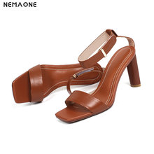 NEMAONE 2019 Summer Classic Woman 8cm High Heels Sandals Female genuine leather Lady Strappy Chunky Scarpins Shoes