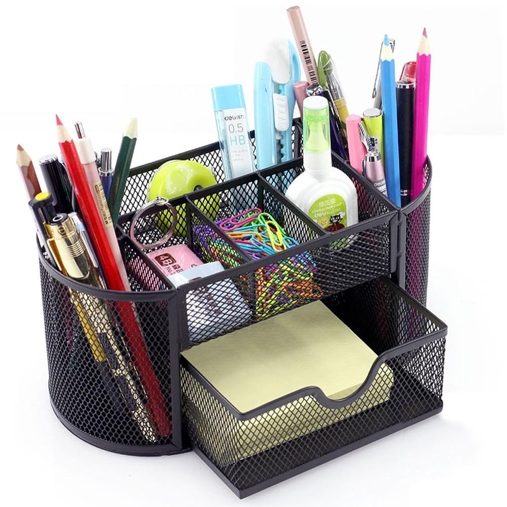 Multi-functional Office Metal Desk Pencil Pen Holder Storage 9 Cell Storage Box Desk Organizer Box Combination Mesh Desktop