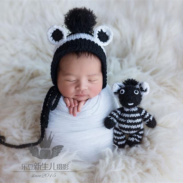 Newborn Knit Bonnet Matched Zebra Toy Set Knitted Baby Boy Bonnet