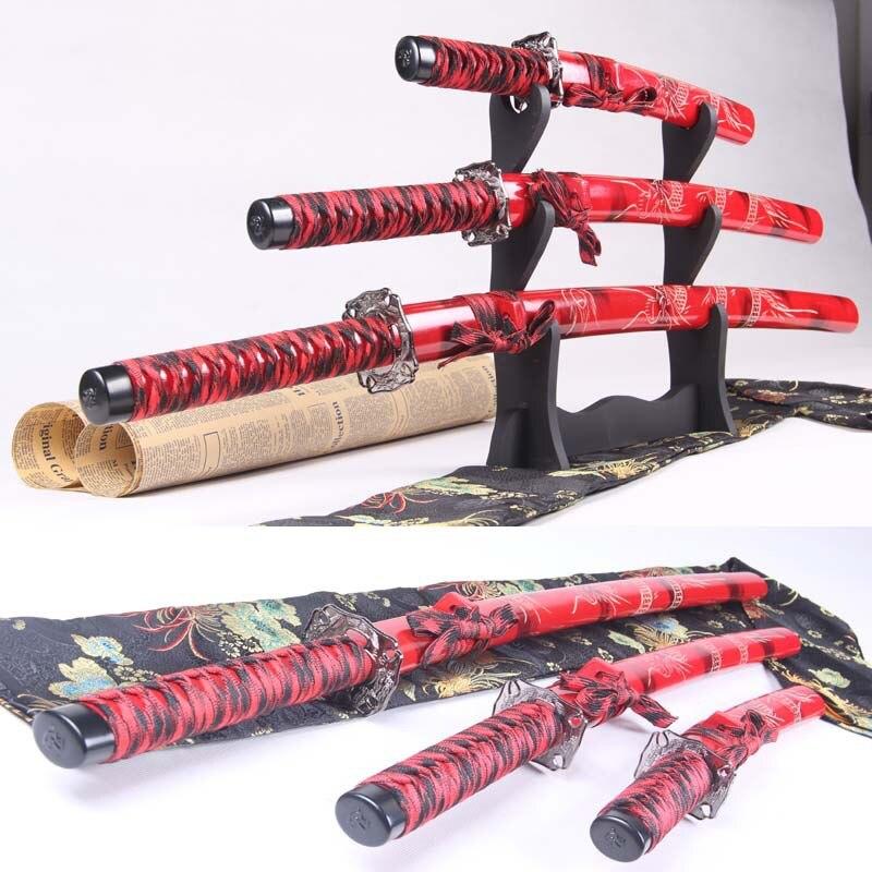 Rouge Anime & Manga épée 3 pièces ensemble Katana décoration Cosplay gymnastique couteau alliage d'aluminium épée