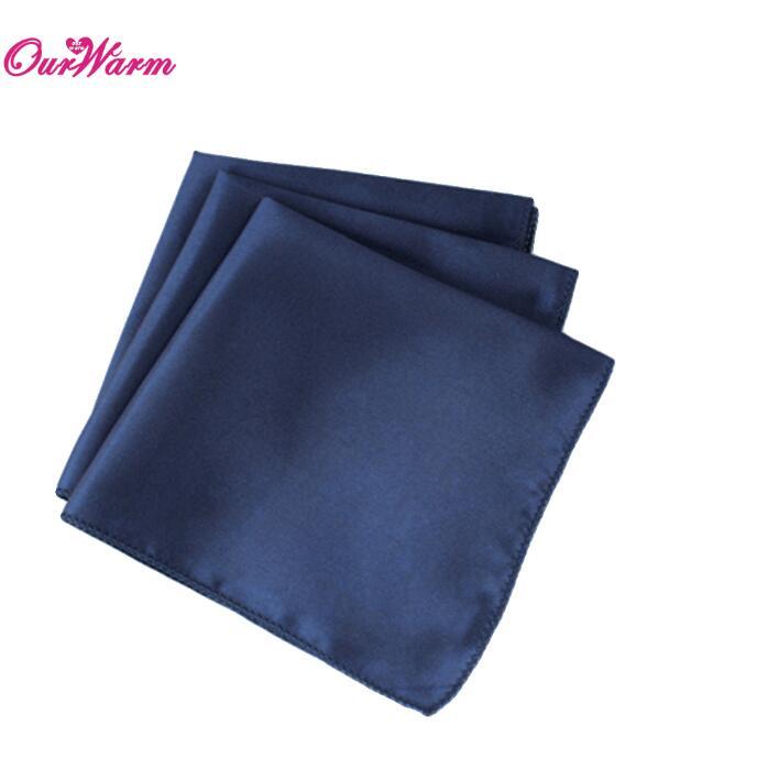 "100Pcs Wedding Table Napkins 12"" Square Pocket Handkerchief Satin Table Dinner Napkins for Wedding Decoration Accessories - Цвет: NAV"