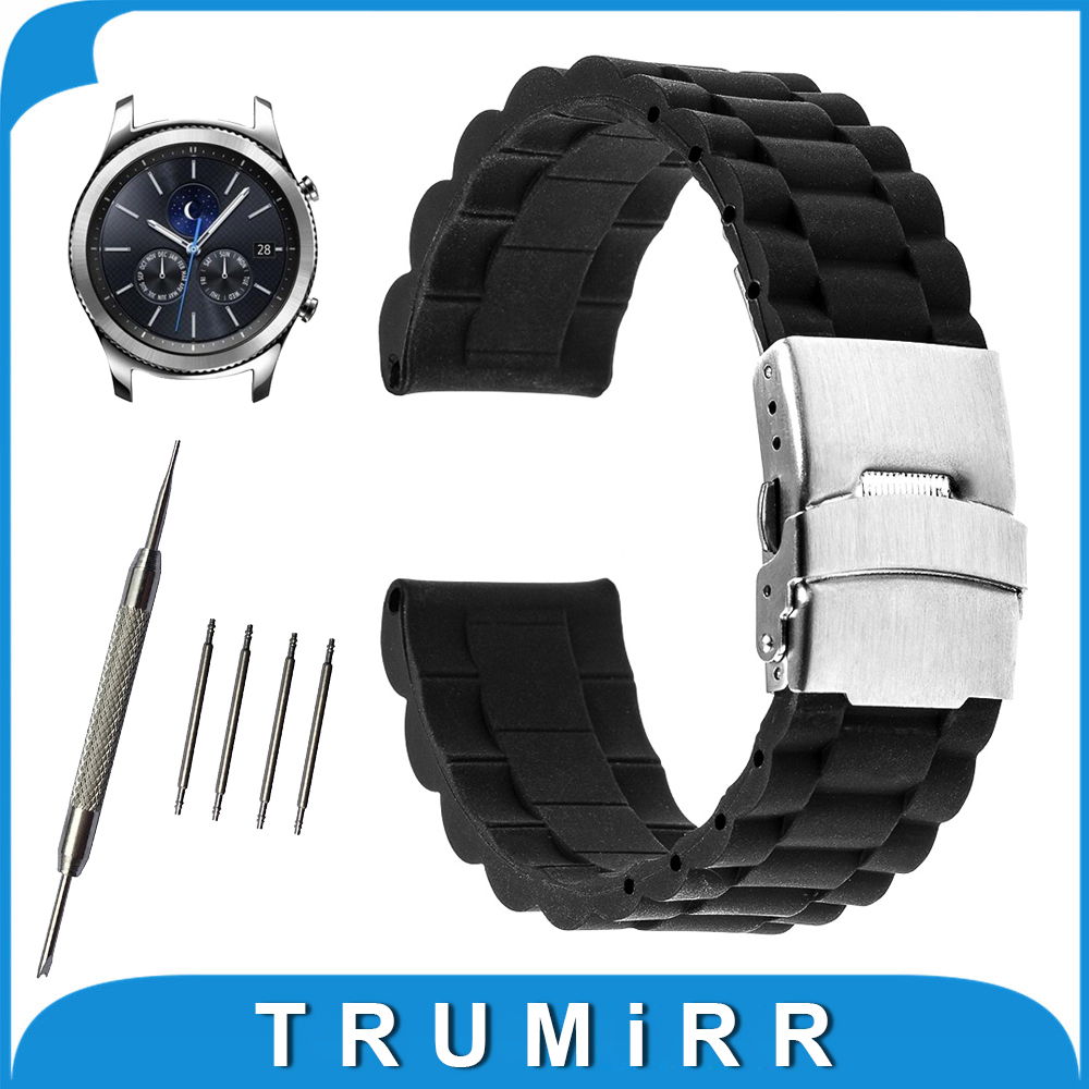 22mm Silicone Rubber Watch Band for Samsung Gear S3 Classic / Frontier Resin Strap Stainless Steel Buckle Wrist Belt Bracelet silicone rubber watch band strap replacement smartwatch bands link bracelet for samsung galaxy gear s2 sm r720 black blue red