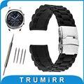 22mm caucho de silicona watch band para samsung gear s3 clásico/frontier resina correa de hebilla de cinturón de pulsera de acero inoxidable pulsera