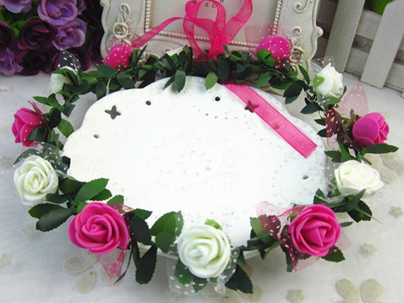 Mode fleur cheveux ornements femmes Rose couronne chapeaux mariage mariée cheveux couronne accessoires Festival guirlande ruban cheveux bande
