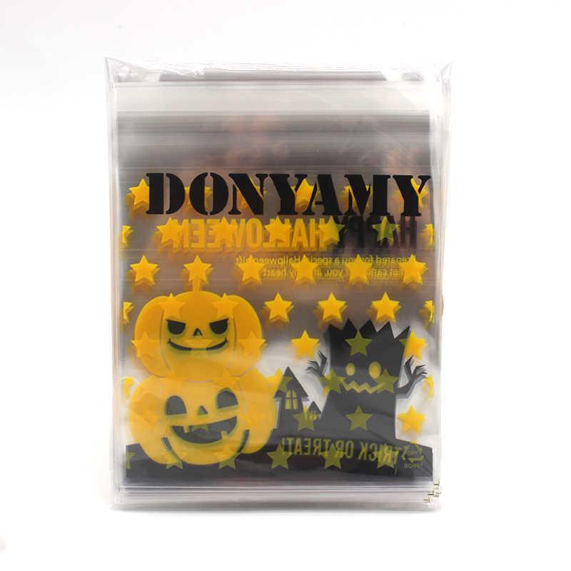 50 pcs Happy Halloween Cookie Permen roti kemasan tas menancapkan kantong plastik untuk biskuit camilan paket kue 10X10 + 3 cm