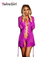 Pajamas For Women 2016 New Sexy Lingerie Hot Erotic Lingerie Sleepwear 2 Colors Lace Trim Robe