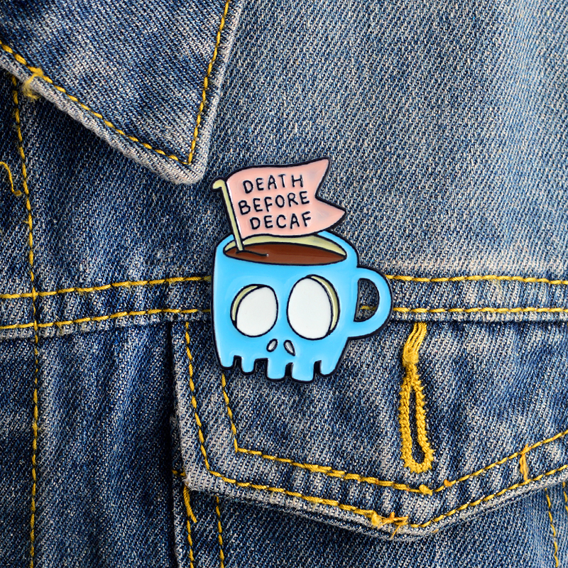 Blue Skeleton Cup Death Before Decaf brooch Skull banner Coffee Cup Brooch Enamel Pin jewelry Friends Gifts image