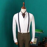 Mùa Hè mới Áo Sơ Mi Trắng Mens Thêu Căng Váy Cưới Tops Men Áo Sơ Mi Dài tay Phù Hợp Với hình Thức Sơ Mi