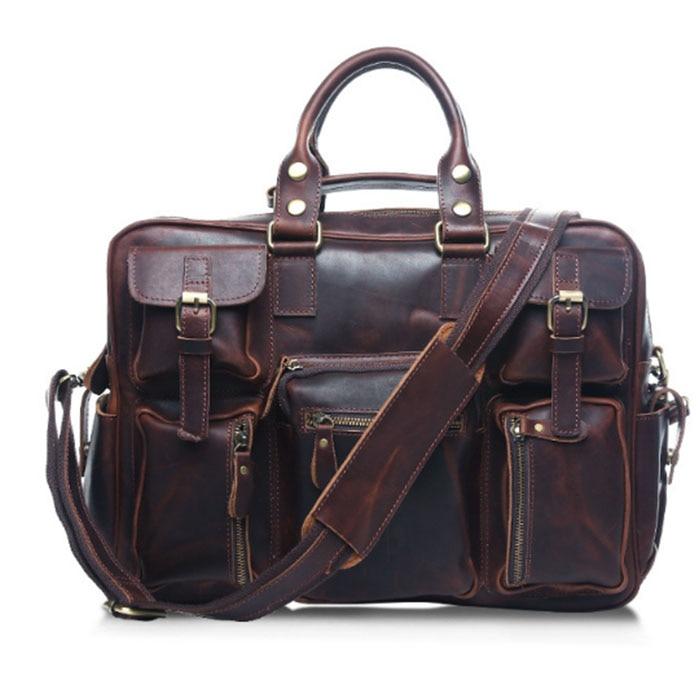 new Designer Brand New Arrival Men's Briefcase Business Shoulder Bag Genuine Cowhide Handbags Vintage Retro Men Messenger Bags bfdadi 2018 new arrival hat genuine