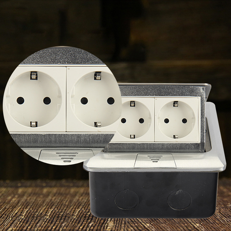 B146-L131 Aluminum Panel EU Standard Pop Up Floor Socket 2 Way Electrical Outlet Modular Combination Customized Sockets