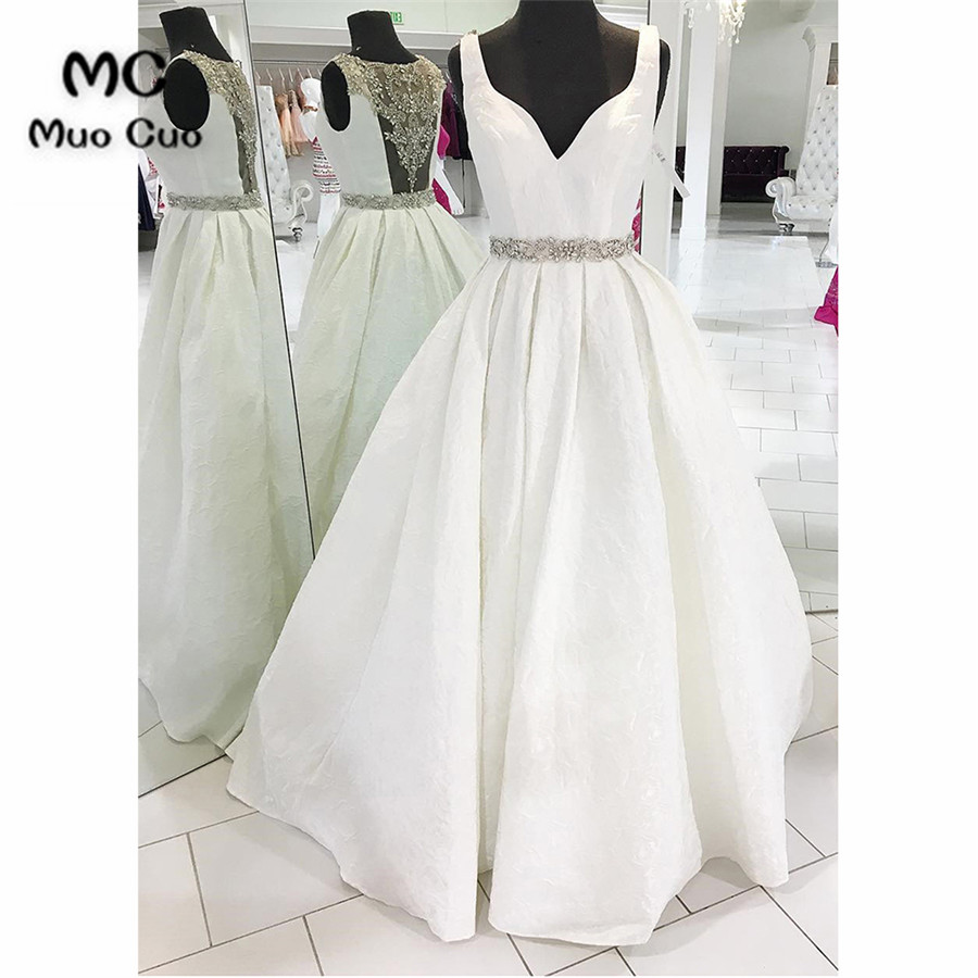 2018 Beaded   Prom     dresses   Long Illusion Back   dress   for graduation Sweep Train V-Neck Tank Formal Evening   Prom     Dress