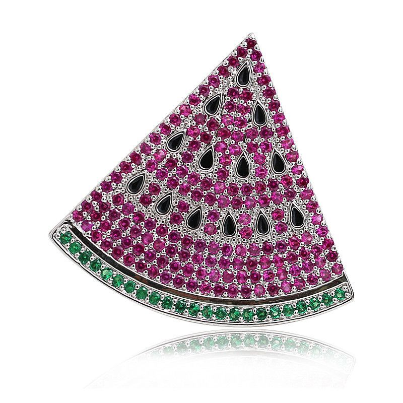 Watermelon Fruit Red/Green Crystal CZ Luxury Collar Lapel Pin Brooches for Women Suits Men Pins and Brooches Broach Jewelry X090