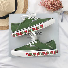 Ins strawberry canvas shoes female 2019 spring and summer new students Korean version of ulzzang wild port wind board shoes tide street beat white shoes female 2018 new spring wild korean students harajuku style ulzzang hemp leaf canvas shoes