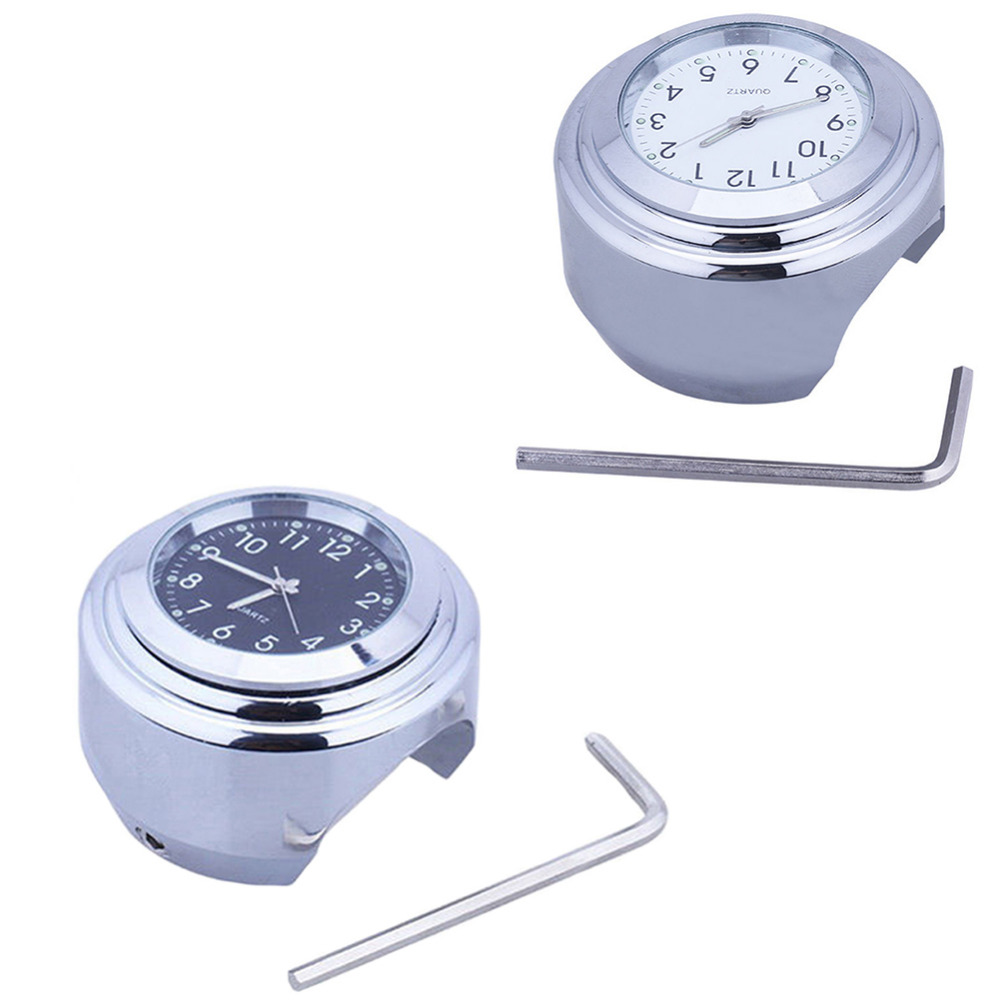 26mm 1 1Pc Universal Chrome Waterproof Motorcycle Handlebar Mount Clock Two Color Optional Watch