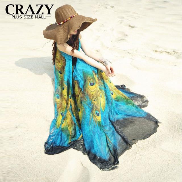 M-9XL Long Plus Size Beach Dresses For Vacation Print Peacock Bohemia Summer Dress Big Size Maxi Dress 9XL 8XL 7XL 6XL 5XL 4