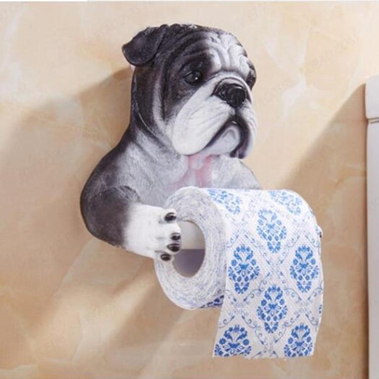 Gray Dog Toilet Paper Holder Toilet Hygiene Resin Tray