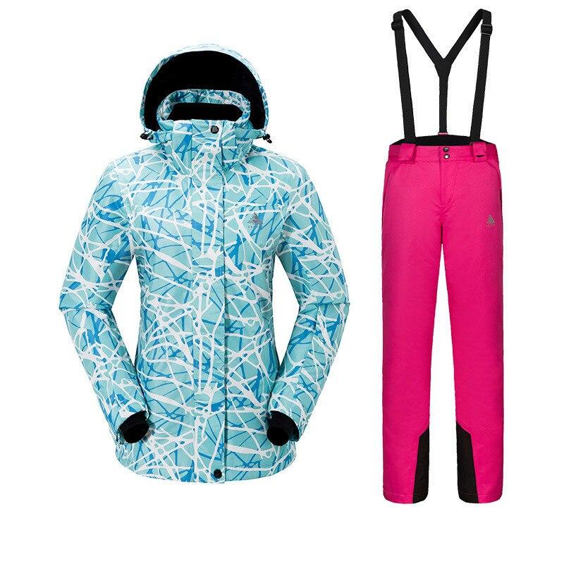 Outdoor Sport vrouwen Skipak Verdikte Warm Ademend Waterdicht slijtvaste Sneldrogende ski Jas + Ski Broek size S XXL